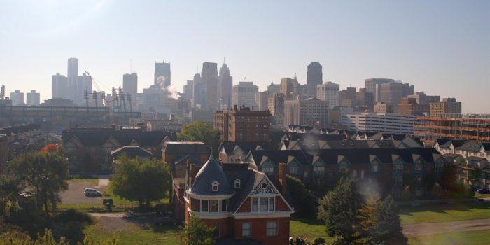Downtown Detroit skyline.
